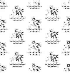 Palm tree sun and sea pattern seamless vector