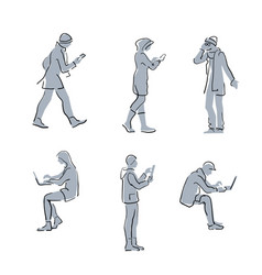 People using gadgets simple sketch line vector