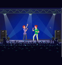 performers singing in microphone realistic vector image