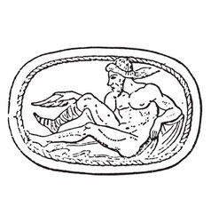 Philoctetes wounded in foot on a scarab in vector