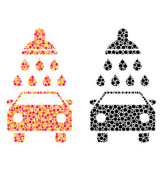 Pixel car shower mosaic icons vector