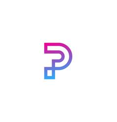 pixel letter p logo icon design vector image