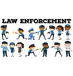 Policeman and law enforcement poster vector