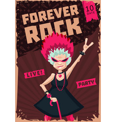 Poster with grandma forever young old lady funny vector
