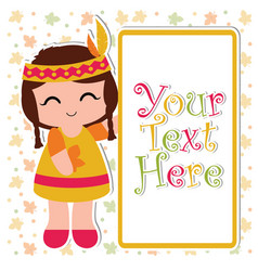 Print cartoon with cute indian girl smile besides vector