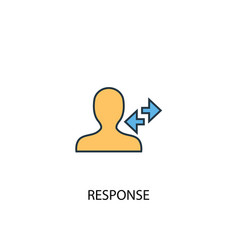 Response concept 2 colored line icon simple vector
