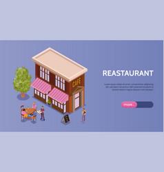 Restaurant isometric banner vector