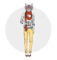 Retro hipster animal cat with photo camera woman vector