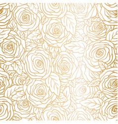 rose golden seamless pattern flower bud and leaf vector image