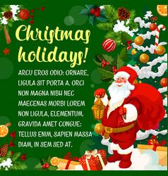 Santa greeting card of christmas new year holiday vector