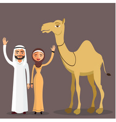 saudi arabia couple cartoon camel vector image