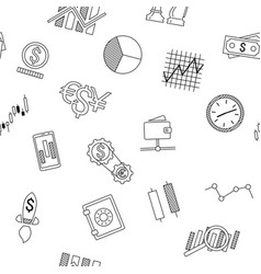 Seamless background of stock forex icons finance vector