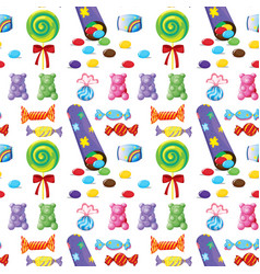 Seamless pattern tile cartoon with candy lollies vector