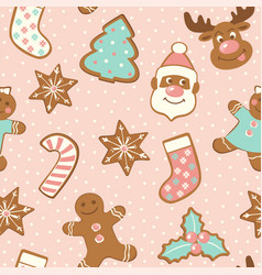 set cute gingerbread cookies for christmas vector image