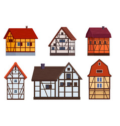 Set half timbered houses on white vector