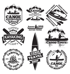 Set of canoe and kayak labels Two man in a boat vector
