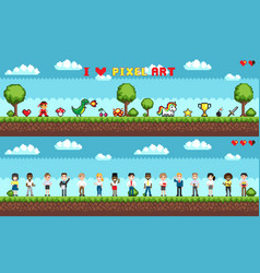 set of characters selection playing game vector image
