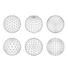 Set of wireframe mesh spheres network line hud vector