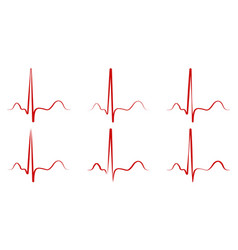 Set pulse hand drawn red heartbeat icon vector