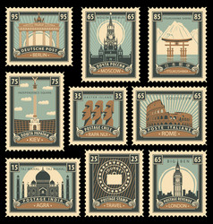 Set stamps with architectural historical sites vector