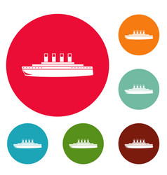 Ship retro icons circle set vector