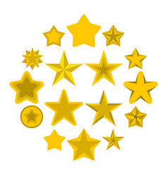 star icons set flat ctyle vector image