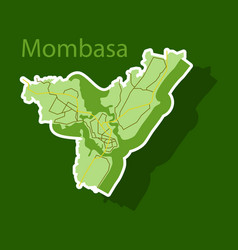 Sticker line art design - mombasa city map vector