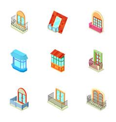 storefront icons set isometric style vector image