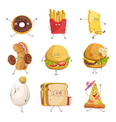 street snack or fast food with faces isolated vector image