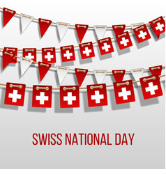 swiss national day background with hanging flags vector image