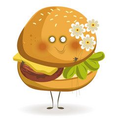 Tasty cheeseburger with adorable face holds small vector