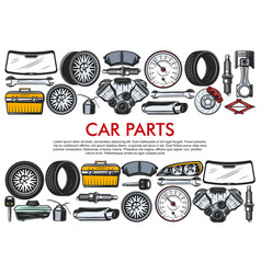 Tools and car spare parts vector