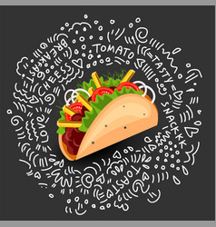 Tortilla burritos wrap cartoon vector