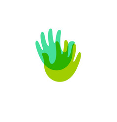 Two palms handmade symbol green transparent hand vector