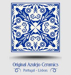 Vintage ceramic tile in azulejo design with blue vector