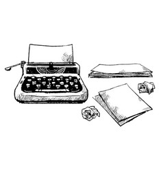 Vintage typewriter and pieces paper vector