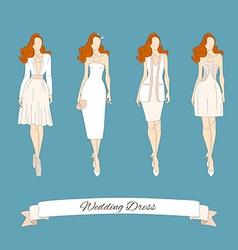 Wedding draw dresses set Bridal vector