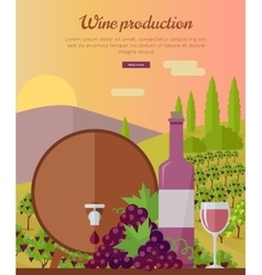 Wine Production Banner Poster for Rose Vine vector