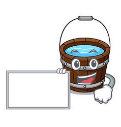 with board wooden bucket character cartoon vector image