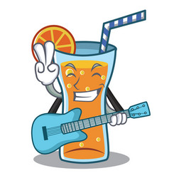 with guitar cocktail character cartoon style vector image