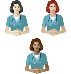 Woman in medic uniform support expert vector