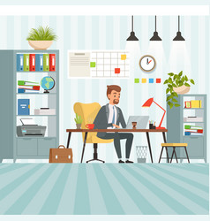 workspace busy businessman boss or company vector image