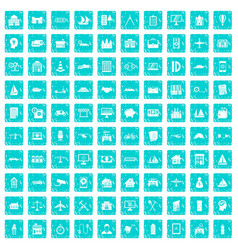 100 private property icons set grunge blue vector image vector image