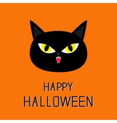 Black cat head Yellow eyes fangs Happy Halloween vector image vector image