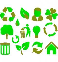 eco icon set green vector image vector image