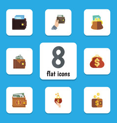 Flat icon purse set of saving billfold money and vector