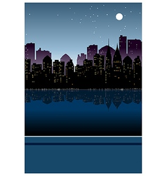 Night cityscape view vector image