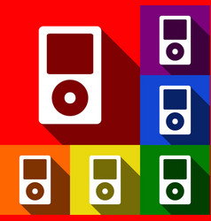 portable music device set of icons with vector image
