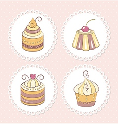 Sweet cupcakes set vector image vector image