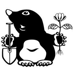 cartoon mole black white vector image vector image